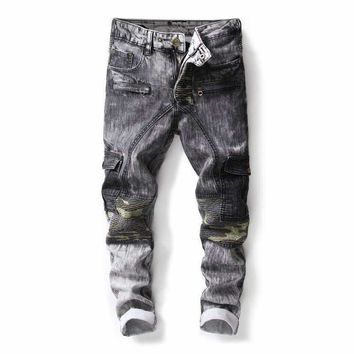 Jeans Men Hip Hop Street Style Biker Designer Skinny Men'S Casual Punk Zipper Distressed Patchwork Jean Streetwear