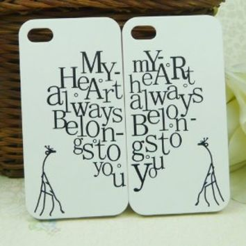 """2 Pieces Heart & Giraffe Couple Hard Lovers """"My Heart Always Belongs To You"""" Case Cover for iPhone 4 4S USA Valentine"""