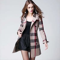 High Quality Designer Burb Brand Women British Genuine Leather Buckle Double Breasted Plaid Womens Trench Coat Trench Coats 2016