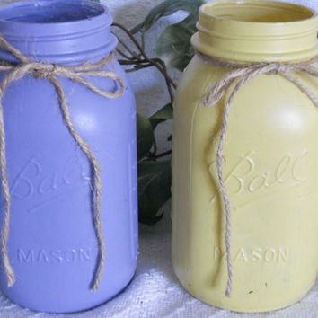 Painted mason jar set in yellow, and purple. Painted mason jar. painted jar. Painted mason jars. Shabby chic.