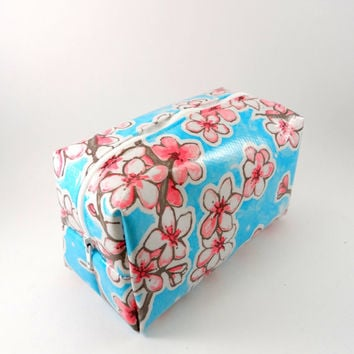 Japanese Blossom Oilcloth  Makeup Bag, Water Resistant, Gadget Case, Under 15, Pencil Case, Medium, Zippered, Cosmetic Case, For Her