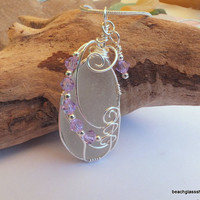 Sea Glass Embellished Wire Wrapped Beach Glass Necklace