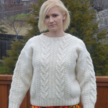90s Vintage Pure Wool  Hand Knit Cable Knit Sweater Cream Color Large
