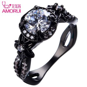 AMORUI Vintage White Birthstone Engagement Ring Bague Black Gold Color CZ Stone Flower Weddings Rings for Women/Men Jewelry