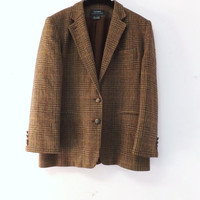 Vintage Ralph Lauren Size 14 Mens Womens Brown Tweed Wool Plaid Suit Coat Fall Jacket Blazer Professor Oxford 80s does 50s Mad Men Preppy