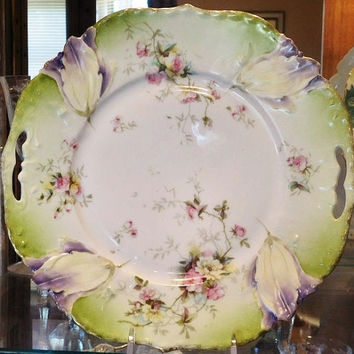 RS Prussia Cake Plate 9 1/2 Tulip Mold Antique Porcelain 1900s Art Nouveau Victorian R S Prussia German Germany Porcelain Cabinet Display
