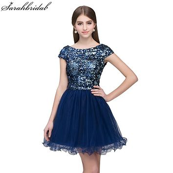 Sexy Short Homecoming Dresses 2017 Sleeveless High Quality Tulle Sequins Party Prom Dresses Vestido De Formatura Curt SLD396