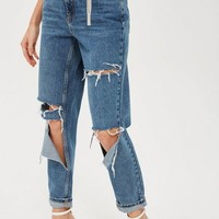 MOTO Mid Blue Ripped Mom Jeans - Clothing