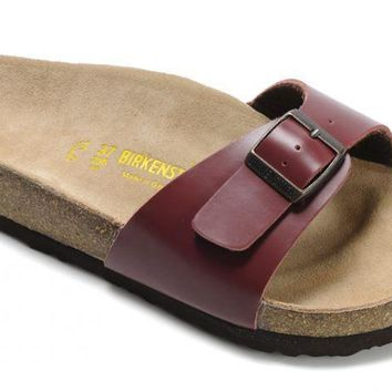 Birkenstock Madrid Sandals Leather Wine-red - Ready Stock