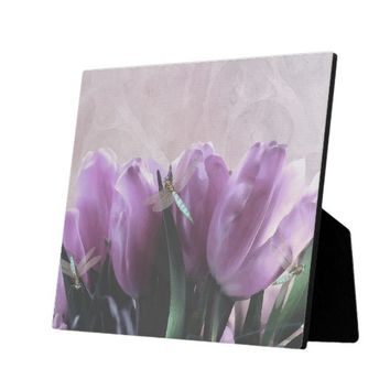Purple Tulips Aqua Dragonfly Decorative Art Plaque