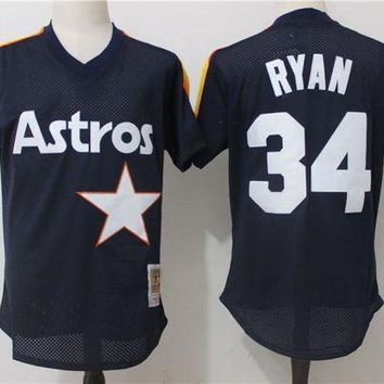 ONETOW Men's Houston Astros Nolan Ryan Mitchell & Ness Navy 1988 Authentic Cooperstown Collection Mesh Batting Practice Jersey