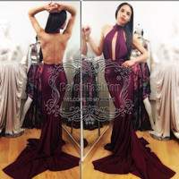 vestidos 2017 boutique purple halter neck sexy backless key hole front long mermaid prom dress special occasion dress