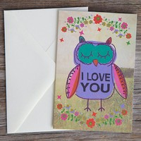 I Love You Owl Natural Life Card