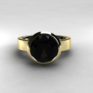 10mm Black spinel solitaire engagement ring, white gold ring, simple, gold engagement ring, black engagement, gothic, wedding, nickel free