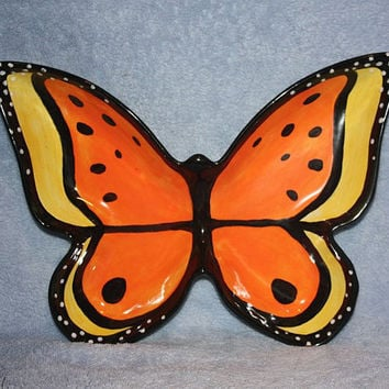 Handpainted Ceramic Monarch Butterfly by FlutterbyConnections