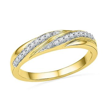 10kt Yellow Gold Women's Round Diamond Simple Band Ring 1/10 Cttw - FREE Shipping (US/CAN)
