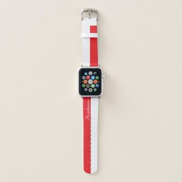 Red and White Personalized Name Apple Watch Band