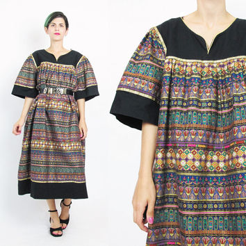 90s Ethnic Striped Dress Floral Striped Print Metallic Gold Painted Black Cotton Caftan Dress Pullover Tent Dress Egyptian Muu Muu (XL)