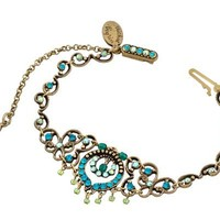 Michal Negrin Bracelet with Vintage Elements, Security Chain, Beads Turquoise and Blue Swarovski Crystals - Victorian Style, Hypoallergenic - Like Love Buy
