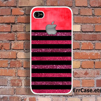 Luxury Apple and Pink Violet Glitter Stripes Design Case , Glitter case , Stripes Case Apple Case : Iphone 4/4s case Iphone 5 case