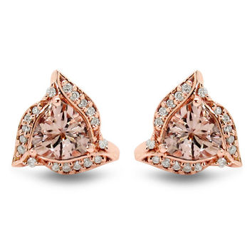 Vintage 1.62TCW Trillion Cut Peach Morganite   Diamond 14K Rose. Jewelry 58c4f0d952