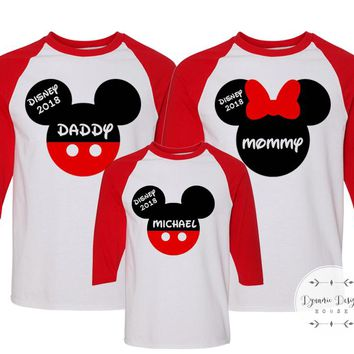 Matching Disney Vacation Shirts For Family, Personalized Disney Trip T-Shirts, Disney Raglan Shirts