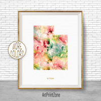 Utah Map Art Print Utah Art Print Utah Decor Utah Print Office Print Map Print Map Poster Watercolor Map Office Poster Office ArtPrintZone