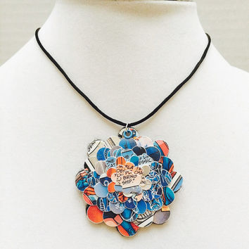 Comic book necklace, Paper necklace, Comic Con, Comic book jewelry, geek, upcycled jewelry, first anniversary gift, paper jewelry