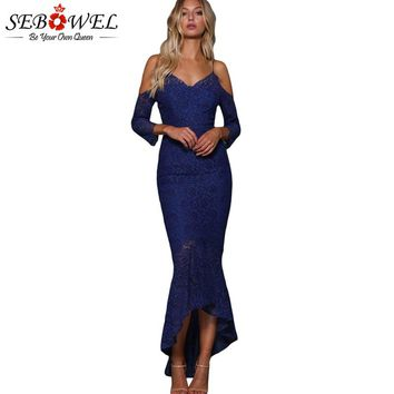 SEBOWEL Elegant Navy Blue Lace Mermaid Party Dress Women Sexy Off Shoulder Long Maxi Dress Evening Gown 2018 Bodycon Club Dress