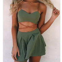 Strap Crop Top Pleated Shorts Sexy Two Pieces Set