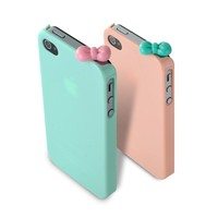 2 Pcs Case Mint & Pink Hard Snap on Cover +Cute Silicone Bow for iPhone 4 4G 4S