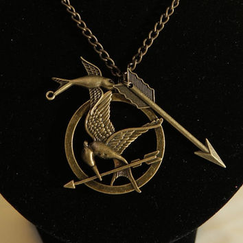 Hunger game necklacebird necklacearrow by wanglovemade on Etsy