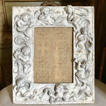 White Chic Gold Wash Cherb Angel Photo Frame