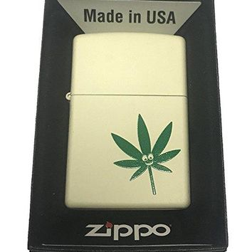 Zippo Custom Lighter - Smiley Face Marijuana Weed Pot Leaf