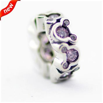 DIY Beads for Jewelry Making Sterling-Silver-Jewelry Pink CZ Spacer Bead Charms Silver 925 Berloque Perles