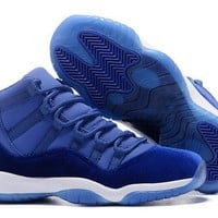 Air Jordan Retro 11 Velvet Blue Basketball Shoes Men Women 11s Royal Blue Velvet Sport