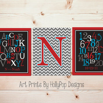 Baby Boy Nursery Art Red Black Gray Toddler Boy Bedroom Art Nursery Prints Baby Boy Wall Art Alphabet Nursery Decor Kids Room Art #0641