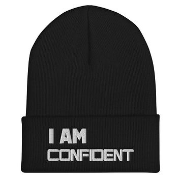 """""""I AM CONFIDENT"""" Positive Motivational & Inspiring Quoted Embroidery Cuffed Beanie"""