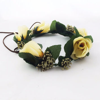 Flower Crown Yellow Roses Flower Headband Flower Girl Halo Wreath Wedding Hair Accessory Festival Crown Flower Garland Coachella