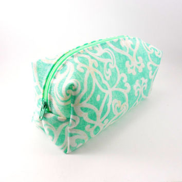 Aqua and Cream Damask Makeup Bag, Gadget Case, Under 15, Pencil Case, Medium, Zippered, Cosmetic Case, For Her