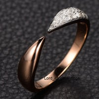 Pave Diamond Wedding Band Anniversary Ring 14K Rose Gold Unique Symmetrical