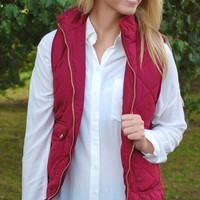Quilted Equestrian Vest - Wine