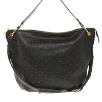 Black Pin Stud Leather Slouch Bag