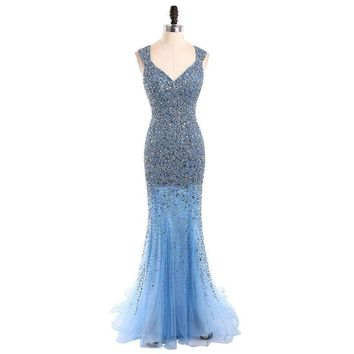 Beaded Mermaid Evening Dresses V Neck Floor Length Party Pageant  Gowns