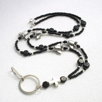 Black Beaded Lanyard with Silver Cross and Airplanes