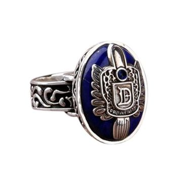 Vintage Vampire Diaries Rings Salvatore Stefan 's Finger Family Crest Ring Lapis Lazuli Ellipse Costume Ring