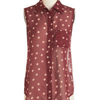 ModCloth Mid-length Sleeveless Polka Street Top