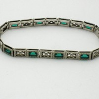 Signed Simmons ART DECO Sterling Filigree Emerald Green Paste Bracelet
