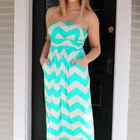 Chevron Maxi Dress - Dark Mint - Hazel & Olive