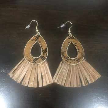 Brown Snakeskin Raffia Earrings